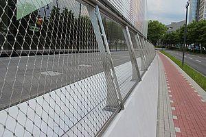 DFB Museum Geländer X-TEND Edelstahlseilnetz