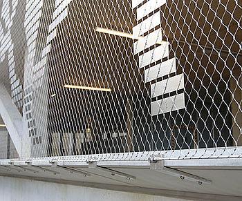 Stripes on mesh railings design