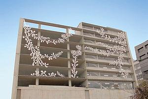 Salzburg Fassade Streifen Dekor im Netz X-TEND Edelstahl-Seilnetz