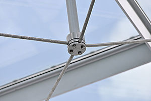 Windverbände Glasdach I-SYS Edelstahl-Seilsystem