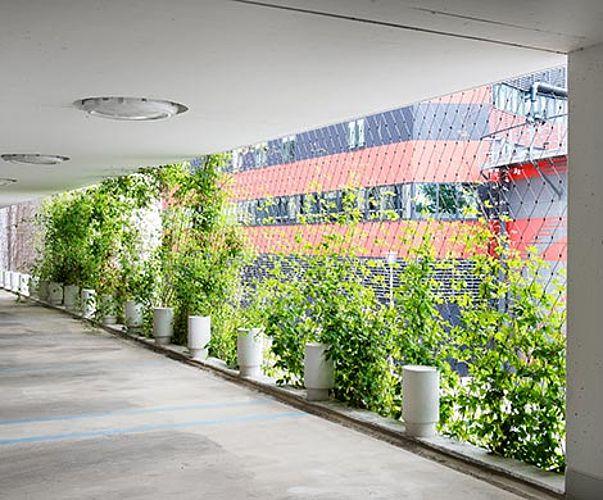 Begrünung begrünte Fassade Parkhaus X-TEND Edelstahl-Seilnetz