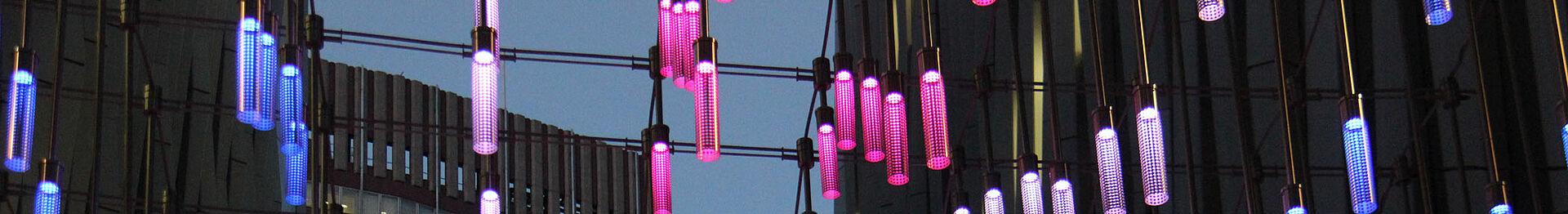 LED Light design I-SYS wire rope system NOVA London Catenary lights