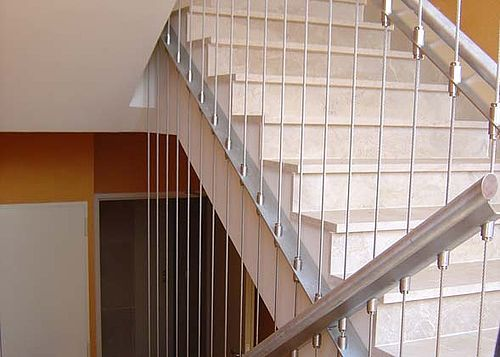 Staircase safety I-SYS stainless steel wire ropes