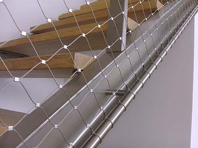 Filet antichute en acier inoxydable pour cage d'escalier